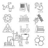 Ciência química do laboratório e linha fina ícones da tecnologia ajustados Ferramentas do local de trabalho ilustração stock