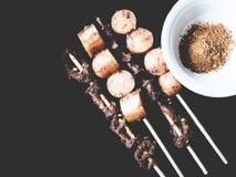 Ciò è intestino grigliato della carne di maiale e della salsiccia con il malaSichu piccante Fotografia Stock Libera da Diritti