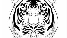 Ciò è potere, animazione con la testa della tigre in disegno monocromatico, insegna di pubblicità per l'industria, produzione di  illustrazione vettoriale