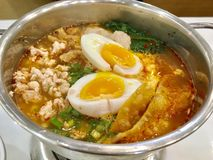Ciò è tagliatelle del thaifood in minestra deliziosa Fotografia Stock Libera da Diritti