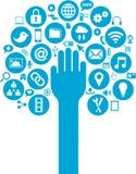 I media e le icone sociali di affari con consegnano Immagini Stock