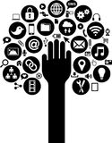 I media e le icone sociali di affari con consegnano Fotografia Stock Libera da Diritti