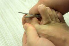 Ciąć toenails nożyce w ręce zdjęcie royalty free