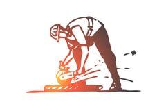 Ciący, płytka, pracownik, naprawianie, budowy pojęcie Ręka rysujący odosobniony wektor ilustracja wektor
