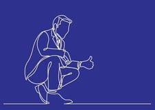 Ciągły kreskowy rysunek biznesowa osoba - pokazywać kciuk w górę gesta ilustracji