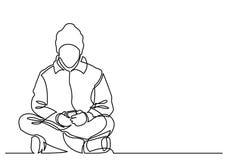 Ciągły kreskowy rysunek młodego człowieka obsiadanie z telefonem komórkowym ilustracji