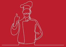 Ciągły kreskowy rysunek pokazuje kciuk w górę francuski szef kuchni royalty ilustracja