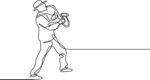 Ciągły kreskowy rysunek saksofonowy gracz ilustracja wektor