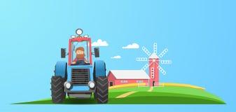Ciągnik blisko gospodarstwa rolnego ilustracji