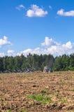 Ciągnik orze pole na słonecznym dniu Wiosna wiejski krajobraz Fotografia Royalty Free