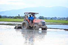 Ciągnik orze ryżowego pole w Chiang Mai, Tajlandia na Sierpień (0) Zdjęcia Stock