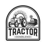 Ciągnikowy emblemat Rolnika rynek Projektuje element dla loga, przylepia etykietkę, podpisuje, obraz royalty free