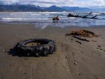 Ciągnikowy koło porzucający wzdłuż plaży Obrazy Royalty Free
