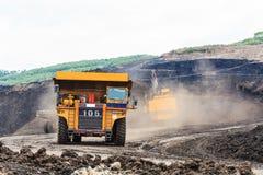 Ciężarówka i Elektryczna łopata w Otwartej jamie Obraz Royalty Free