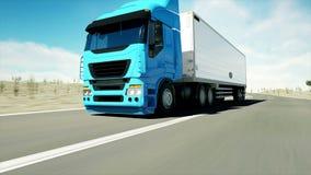 Ciężarówka na drodze, autostrada Odtransportowywa, logistyki pojęcie super realistyczna animacja z physiks ruchem royalty ilustracja