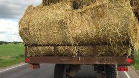 Ciężarówka niesie siano na drodze zbiory