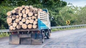 Ciężarówka z loguje się małą autostradę zdjęcia stock
