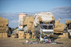 Ciężarówka z sianem przy rynkiem Fotografia Royalty Free