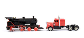 ciężarówka zabawka pociągu Fotografia Stock