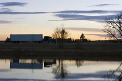 ciężarówka zobaczyć zachód słońca Obraz Stock