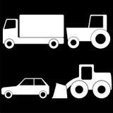 Ciężarówki, ciągnika, samochodu i ładowacza biel, Fotografia Stock