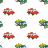 Ciężarówki i samochodu zabawki wzór bezszwowy Zdjęcie Stock