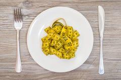 Ciężar strata dieting odchudzający głodującego resulrs centymetra pojęcie Pojęcie niezdrowy odżywianie Talerz z taśmy miarą, rozw Zdjęcia Stock