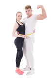 Ciężar straty pojęcie - młody mięśniowy mężczyzna i schudnięcie kobieta z mea obraz stock