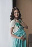 Ciężarna dziewczyna w sukni 2119 Obrazy Stock