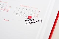Ciężarna macierzysta ocena puszka narodziny data obraz stock
