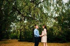 Ciężarna piękna kobieta i jej przystojnego męża uroczy relaksować na naturze, pinkin w jesień parku zdjęcia stock