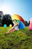 ciężarna tęczy parasola kobieta Obraz Stock