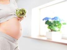 Ciężarny brzuch młoda kobieta w pięknym wnętrzu obraz stock