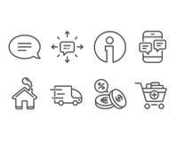 Ciężarowa dostawa, telefon wiadomości i wymian walut ikony, Sms, gadka i Dodaje produktów znaki Obrazy Stock