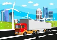 Ciężarowy jeżdżenie na autostradzie, miastowym budynku i zieleni hilld na tle, wieś ilustracji