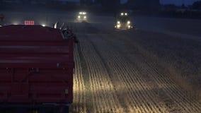 Ciężarowy stojak na ścierni i żniwiarza maszynie z światłami kultywuje zboże kukurudz pole przy nocą 4K zdjęcie wideo