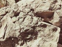 Ciężcy kamienie na ziemi, Zamykają up naturalna kamienna tekstura obraz royalty free
