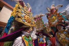 Ciężcy skomplikowani jaskrawi colour pióropusze w Pujili Ekwador Zdjęcia Stock