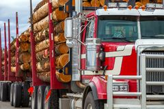 Ciężka ładowna szalunku transportu ciężarówka w kolumbia brytyjska zdjęcie stock
