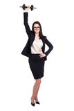 Ciężka praca i sukcesu pojęcie - biznesowa kobieta z dumbbell iso Fotografia Stock