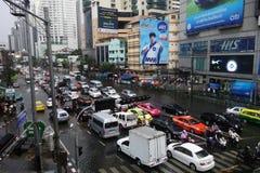 Ciężka ulewa zalewa Bangkok fotografia stock