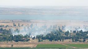 Ciężki bój łamał na strefie zdemilitaryzowana w wzgórze golan Zdjęcie Royalty Free