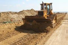 Ciężki budowy wyposażenie pracuje na pas startowy budowie Zdjęcia Stock