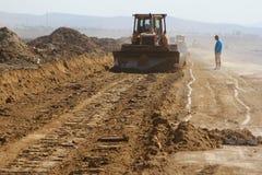 Ciężki budowy wyposażenie pracuje na pas startowy budowie Fotografia Royalty Free
