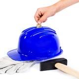 Ciężki kapelusz jako prosiątko bank obrazy stock