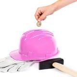 Ciężki kapelusz jako prosiątko bank obraz royalty free