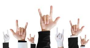Ciężki metal ręki znak różnicy kariery podnosić oddolny, odosobniony na białym tle zdjęcia stock