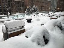 Ciężki opad śniegu w Calgary, Alberta, Kanada Zdjęcia Stock