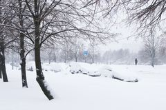 Ciężki opad śniegu w ulicach Moskwa Obraz Stock