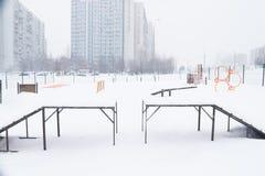 Ciężki opad śniegu w ulicach Moskwa Fotografia Stock